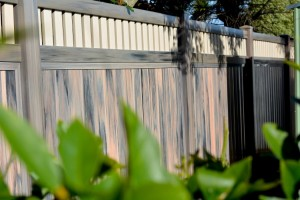 woodgrain PVC panel fencing